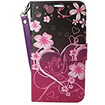 Moto Z2 Play Case,Customerfirst Kickstand Flip PU Wallet Leather Protective Case Cover with Card Slot & Wrist Strap for Motorola Moto Z Play (2nd Generation) 2017 (BIg Heart Pink)