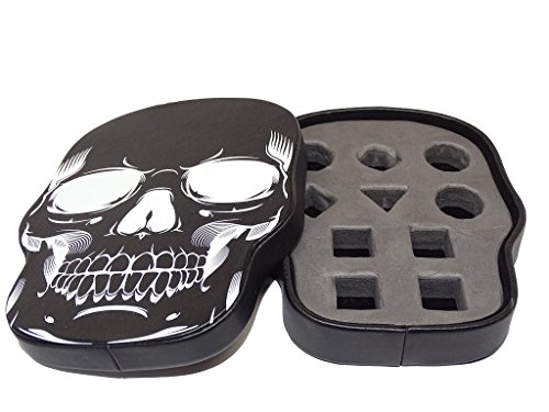 Easy Roller Dice Co. Black Skull Dice Display and Storage Case For 10 Piece Dice Sets- Display your Favorite Set or Store up to 21 Dice. Leatherette Material with Removable Foam Insert