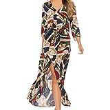 Aniywn Women s Summer Printing Bohemian Button Long Dresses Half Sleeve V-Neck Maxi Holiday Dress Red