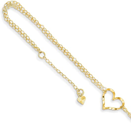 Lex /& Lu Sterling Silver Heart-link w//Heart Charm Anklet 10