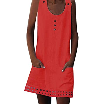 bd6c053ac4e1 Amazon.com  Women s Summer Sleeveless Button Hollow Pocket Loose T ...