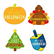 Pearhead Holiday Shaped First Year Holiday Milestone Photo Sharing Baby Belly Stickers