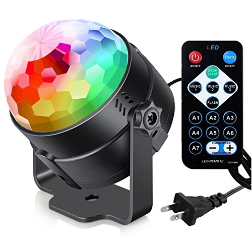 (Sound Activated Party Lights with Remote Control Dj Lighting, RBG Disco Ball, Strobe Lamp 7 Modes Stage Par Light for Home Room Dance Parties Birthday DJ Bar Karaoke Xmas Wedding)