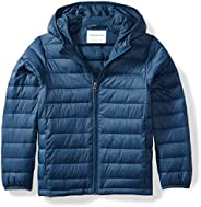 Amazon Essentials Boys Light-Weight Water-Resistant Packable Hooded Puffer Jackets Coats