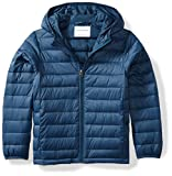 Amazon Essentials Boys' Lightweight Water-Resistant Packable Hooded Puffer Jacket, Navy, Small