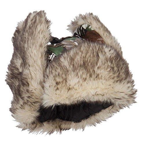 Camouflage Bomber Fur Trooper Hat - Snow OSFM