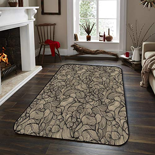 Fantasy Star Non-Slip Area Rugs Room Mat- Abstract Curve Wallpaper Home Decor Floor Carpet for High Traffic Areas Modern Rug Kitchen Mats Living Room Pads, 5' x 8' -