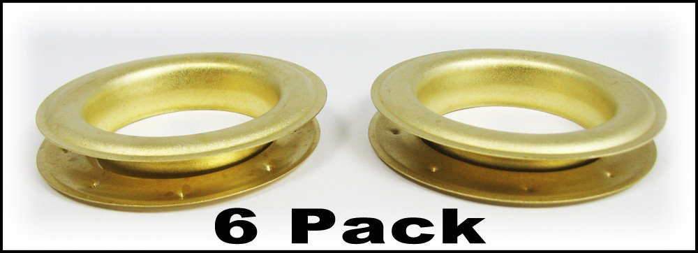 6pc. #12 (1.5'' hole diameter) Satin Brass Grommets