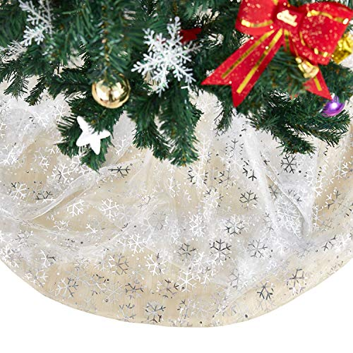 - Deconovo Decorative Organza Sheer Tablecloth DIY Christmas Tree Skirt Fabric Glittering Shining Party Decorations Grey Snowflake Pattern 59 x 118 Inch