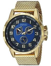 August Steiner Men's AS8202YGBU Round Blue Dial Two Hand Retrograde Quartz Gold Tone Bracelet Watch
