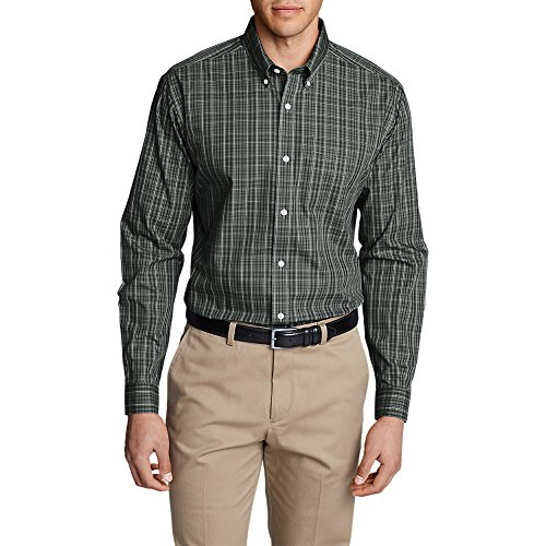 Eddie Bauer Men's Wrinkle-Free Pinpoint Oxford Classic Fit Long-Sleeve Shirt ,Carbon - Pinpoint Fit Dress Shirt