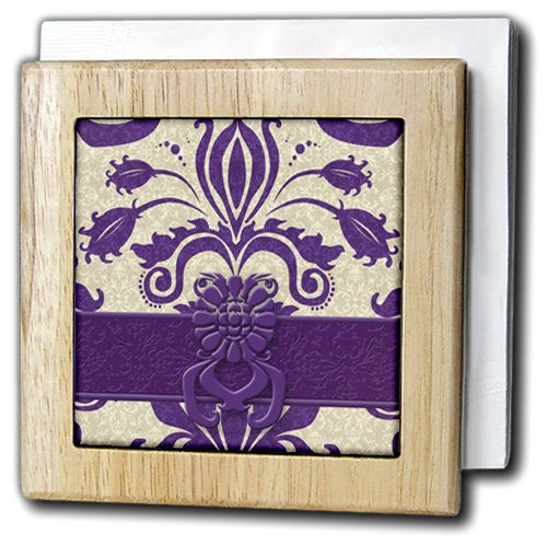 3dRose nh_15454_1''''Damask Purple and Taupe'' Napkin Holder, 6'', by 3dRose