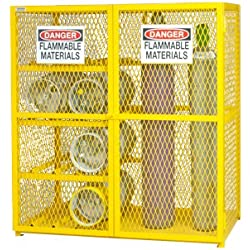 "Durham Steel/Iron Combination Horizontal/Vertical Cylinder Storage Cabinet, EGCC8-9-50, 17 Cylinder Capacity, 30"" Length x 60"" Width x 71-3/4"" Height, Yellow Powder Coat Finish"
