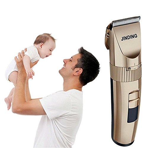Electric Hair Clipper Professional Hair Trimmer Hair Cutting Machine To Haircut Beard Trimmer Ceramic Blade Dual combs (Gold)