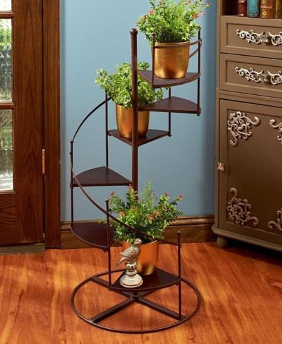 New Folding Metal Plant Stand (Plant Stand Spiral Staircase Display Shelves 6 Steps 37
