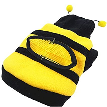 38a4771d1ce Cute Bee Design Pet Dog Polar Fleece Cloth Clothing Cat Clothes Puppy  Hoodie Plush Warm Winter Coat Apparel Costume Accessory for Dogs Pets with  Hat Size M