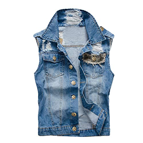 Letdown_Men tops Denim Vest for Men Big and Tall Sleeveless Lapel Slim Fit Button Down Casual Cowboy Jeans Vests Jacket ()