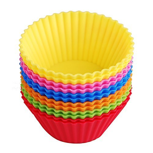 Silicone Baking Cups Muffin Cupcake Liners Molds Set - 12 Pack Premium Reusable & Nonstick - Standard Size Baking Cups in 6 Colors by Lingstar (Image #1)