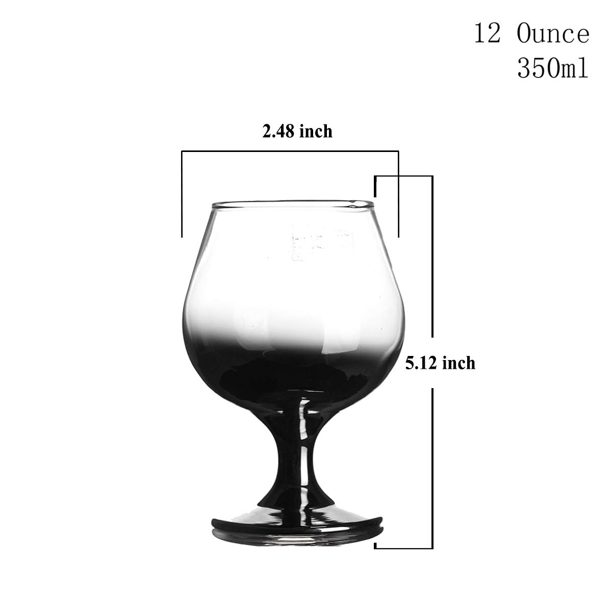 Wine Clear with Black Gradient Beer Whiskey Champagne,Set of 4 HOMQUEN Crystal Brandy Glass 12-Ounce 5.3,Craft Spirits Cognac Glasses,Whiskey Glass,Suitable for Spirits