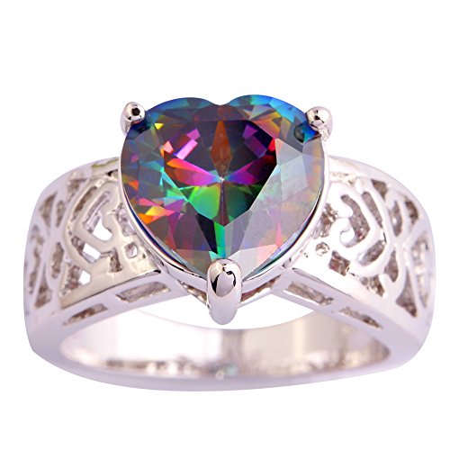 Psiroy 925 Sterling Silver Fashion Exquisite Heart Shaped Rainbow Topaz Solitaire Promise Filled Ring - Channel Gem Rainbow Set