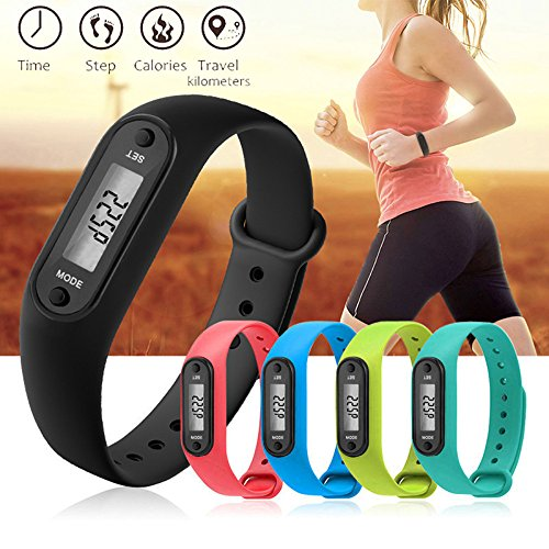 YIHUA Digital LCD Pedometer Run Step Walking Distance Calorie Counter Watch Bracelet Fitness Tool ()