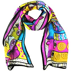 "Wrapables Vibrant 100% Silk Long Scarf 51"" x 10.5"", Cats"