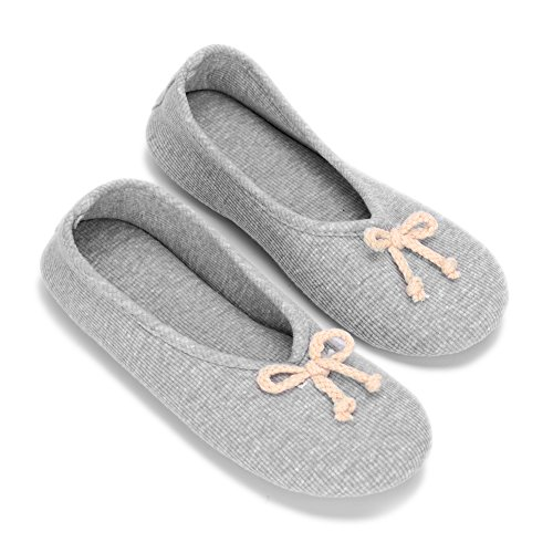 12Vmonster Women's Comfortable Maternity Ballet Slippers Ballerina Slip On (Grey, Medium) by 12Vmonster