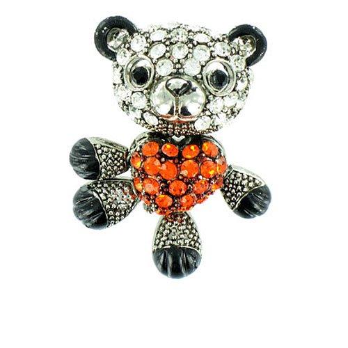 Naranja y claro cristal de plata envejecida de oso de peluche y corazón  broche 37990b50e2b