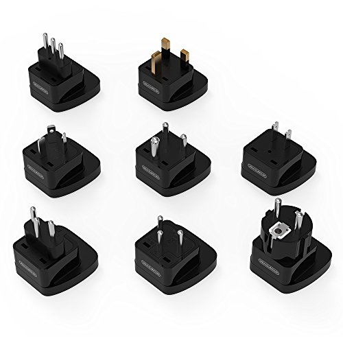 NTONPOWER 8-Piece Worldwide Travel Adapter Universal Plug Adapter Set International Outlet Converter for Italy France Germany Russia UK Hong Kong India Switzerland Israel China Australia Japan - - Uk Outlet D&g