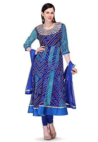 Utsav Fashion Bandhej Printed Pure Chinon Crepe Anarkali Suit in Blue Colour