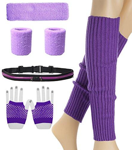 Women 80s Neon Knit Running Headband Wristbands Leg Warmers Set ()