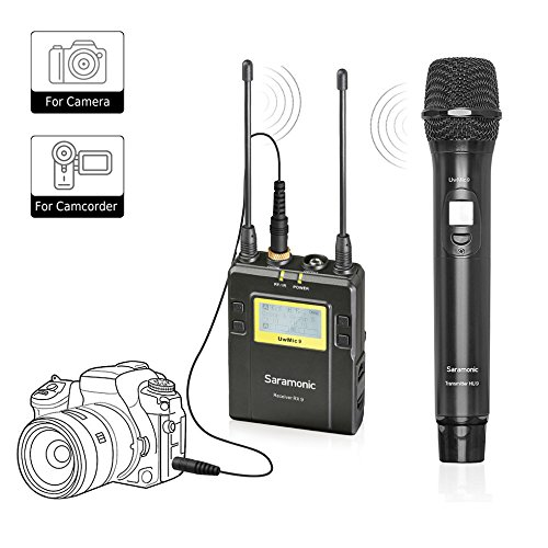 Wireless Handheld Microphone for DSLR Camera,Saramonic UWMIC9 UHF Interview Microphone System with Handheld Mic and Receiver unit ,Compatible with Canon / Nikon / Sony / Panasonic / BlackMagic / ZOOM by Saramonic
