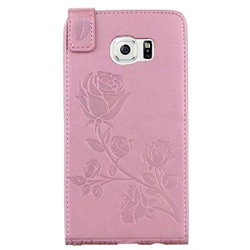 YHUISEN Galaxy S6 Edge caso, en relieve Rose flor patrón vertical Flip caja de cuero con ranura para tarjeta de Samsung Galaxy S6 Edge ( Color : Green ) Rose Gold
