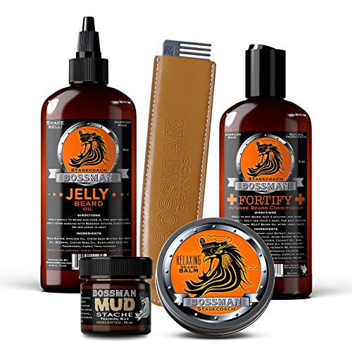 Bossman Complete Beard Kit - Beard Oil, Conditioner, and Balm. Eliminate Beard Itch, Grow a Thicker, More Mature Beard (Stagecoach Scent)]()