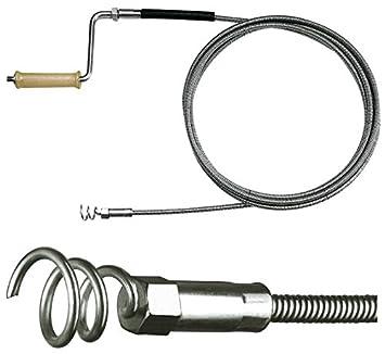 Rohrreinigungs-Spirale Ø 15mm mit Trichterbohrer und Holzkurbel, mit optionalen Verlängerungen, Rohrreinigung im Fallrohr, Regenrohr, Boden-Abfluss, in Drainagen, etc. E&R