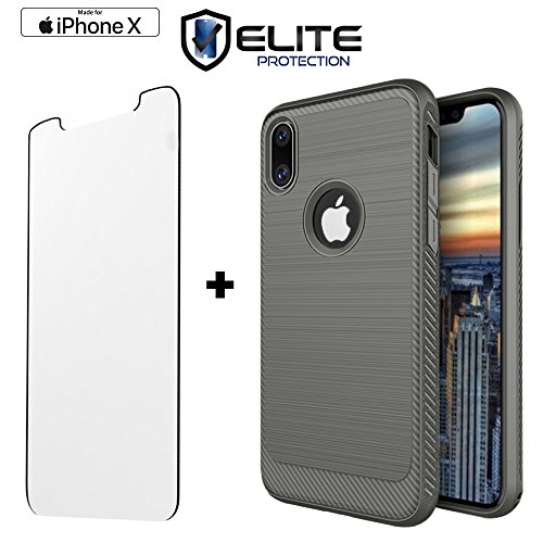Mini D-pad Crystal Cover (iPhone X Case Compatible with Apple iPhone X / iPhone 10 | Flexible Non Slip Military Grade TPU | Includes 9H Hardness Crystal Clear Tempered Glass Screen Protector| Scratch Proof Technology (Silver))