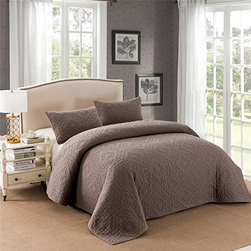 Super Soft Breathable Edinburgh Knitted Jersey 3 Piece Cotton Quilt Set with 2 Shams.Prewashed For All Seasons (Full/Queen/88x92
