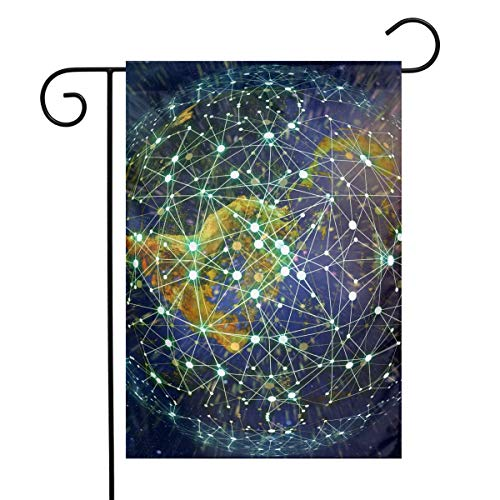 PengMin Earth Social Network Garden Flag Thick Antiwrinkle Weatherproof Polyester Home Flags Decor Double Side Printed from PengMin