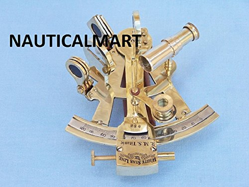 5'' SOLID BRASS MARINE SEXTANT - NAUTICAL NAVIGATION COLLECTION BY NAUTICALMART by NAUTICALMART
