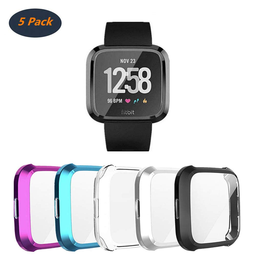 [5Pack] Compatible with Fitbit Versa Lite Screen Protective Case,FOLOME Scratch-Resistant Soft Flexible TPU Plated All-Around Protective case Protector Watch Cover (Clear+Black+Silver+Blue+Mulberry) by Folome