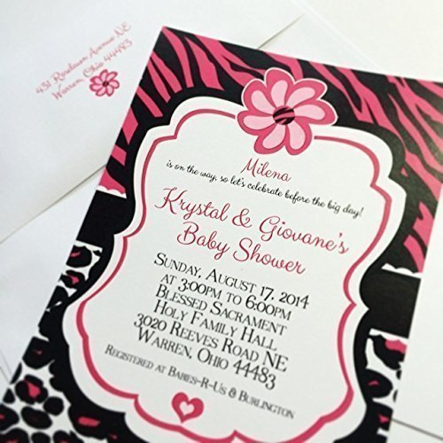 Amazon hot pink zebra and leopard print baby shower invitations hot pink zebra and leopard print baby shower invitations filmwisefo