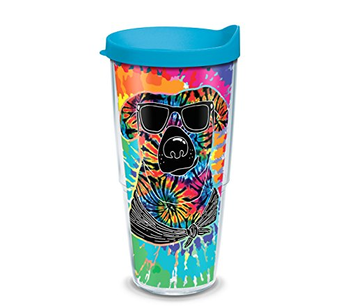 (Tervis 1305029 Project Paws Tie Dye Dog with Sunglasses 24 oz Tumbler with turquoise lid, Clear)