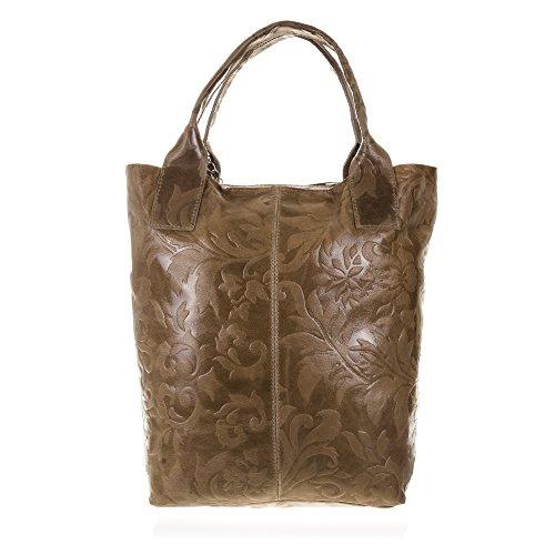 FIRENZE ARTEGIANI.Bolso shopping bag de mujer piel auténtica.Bolso cuero genuino grabado motivo Arabesco y lacado.Monedero incluído. MADE IN ITALY. VERA PELLE ITALIANA. 40x36x17 cm. Color: TAUPE