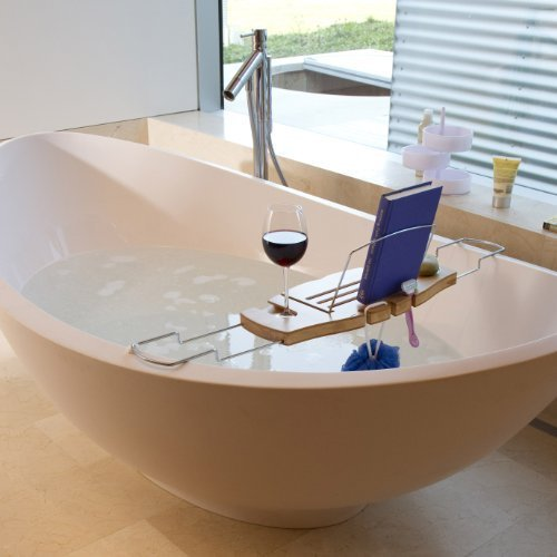 Amazon.com: Umbra Aquala Bamboo and Chrome Bathtub Caddy: Home & Kitchen