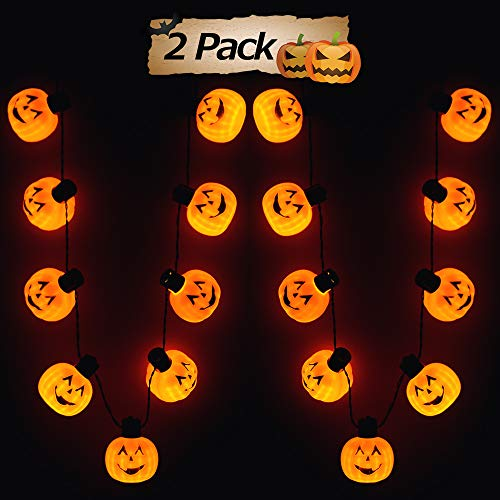 FLY2SKY 2PCS Halloween Party Favors Necklace Jack-o'-Lantern Halloween
