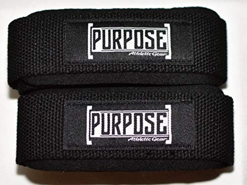 PURPOSE Athletic Gear Weight Lifting Straps- The Best Weight Lifting Wrist Straps for Weightlifting, Bodybuilding, Powerlifting, Strength Training, Deadlifts - Padded Neoprene