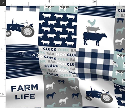 Spoonflower Plaid Fabric - Farm Life Dusty Blue Farm Patchwork Trendy Cow Print on Fabric by The Yard - Minky for Sewing Baby Blankets Quilt Backing Plush Toys