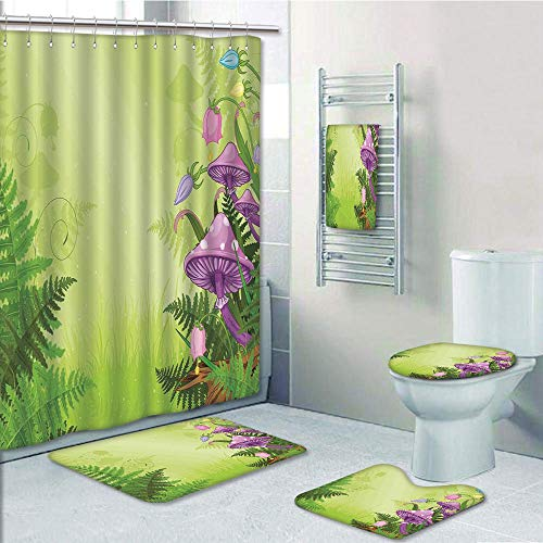 Green Toile Shower Curtain - Bathroom Fashion 5 Piece Set shower curtain 3d print,Mushroom Decor,Magic Landscape with Mushrooms and Flowers in the Fresh Forest Ferns Cartoon Print,Green Purple,Bath Mat,Bathroom Carpet Rug,Non-Sli