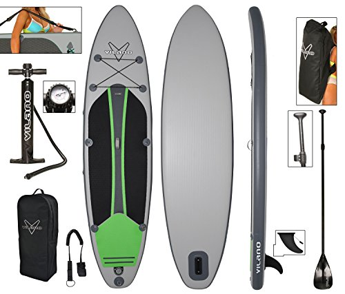 Vilano Voyager Inflatable SUP Stand Up Paddle Board, Includes Pump, Paddle, Bag & Leash