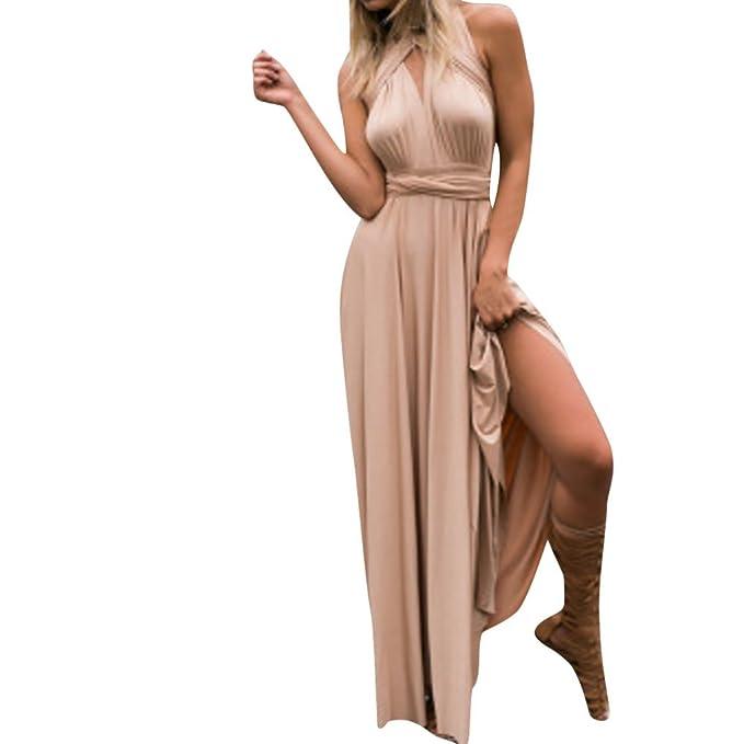 Women Sleeveless Halter Bandage Party Evening Dress Elegant Maxi ...